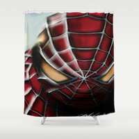 spider man Shower Curtains featuring Spider-Man by Inspirations