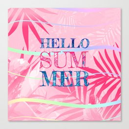 Hello Summer Typography Tropical in Pink Canvas Print