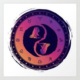 Virgo Yin Yang Sixth Zodiac Sign Art Print
