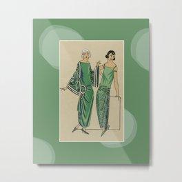 The green dress | Art Deco vintage fashion print | Natural and green | Modern design Metal Print
