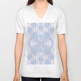 Tropical Art Deco Pattern - Pastel blue and pink Unisex V-Neck