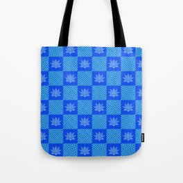 Retro Blue Lotus Checkerboard Tote Bag