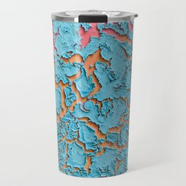 Pink, Yellow, and Blue Cracked Desert Abstract Painting Travel Mug