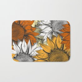 Beautiful pattern from hand drawn sunflowers Bath Mat