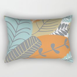 Bright Tropical Leaf Retro Mid Century Modern Rectangular Pillow