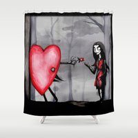 valentines Shower Curtains featuring Nightmare Before Valentines Day by Ludwig Van Bacon