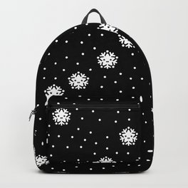 Dark night and winter snowflakes kawaii illustration print Backpack