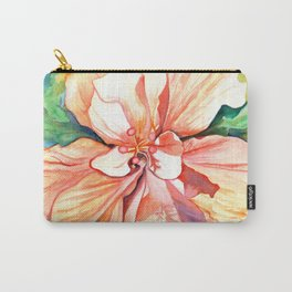 Double Peach Tropical Hibiscus Carry-All Pouch