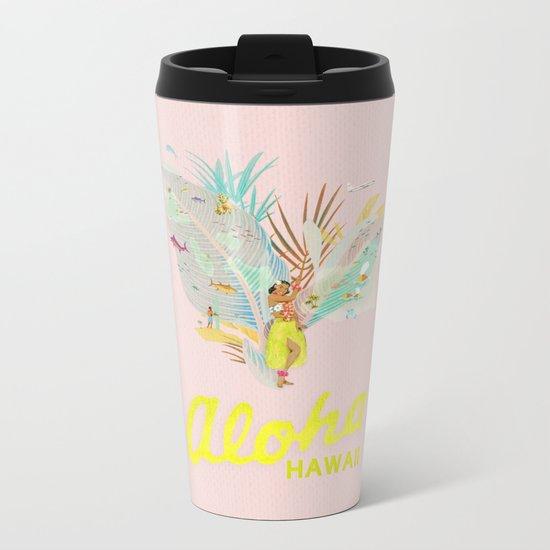 Aloha, Hawaii (Pink) Metal Travel Mug