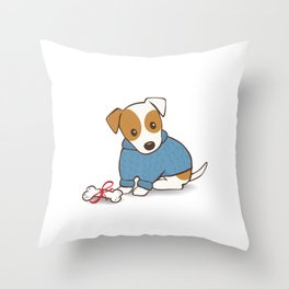 Jack Russell Terrier in a Blue Jumper Illustration Throw Pillow