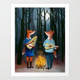 Eine Kleine Foxmusik - Fox Duet Art Print