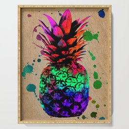 Pineapple on vintage paper 01 Serving Tray
