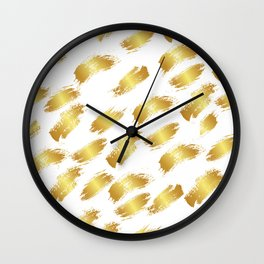 Abstract white faux gold artistic paint brushstrokes pattern Wall Clock