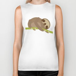 funny and cute Three-toed sloth on green branch Biker Tank