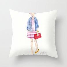 Pink Stripes + Denim Jacket Throw Pillow