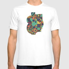 Geomets MEDIUM White Mens Fitted Tee