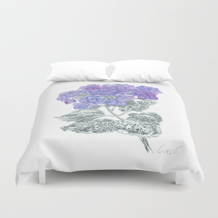 Hydrangea 01 Botanical Flower * Lavender Blue Hydrangea Duvet Cover