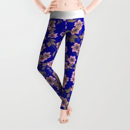 Abstract blush pink brown sky blue flowers Leggings