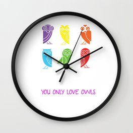 Yolo You Obviously Love Owls Nocturnal Birds Night Hunter Animals Wildlife Wilderness Gift Wall Clock