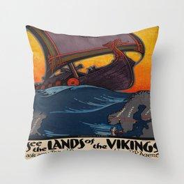 Vintage poster - Scandinavia Throw Pillow