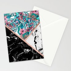 Black white marble rose gold watercolor floral color block pattern Stationery Cards