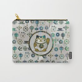 Maneki Neko Lucky cat on  pearl and abalone Carry-All Pouch