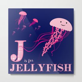 J is for Jellyfish Metal Print