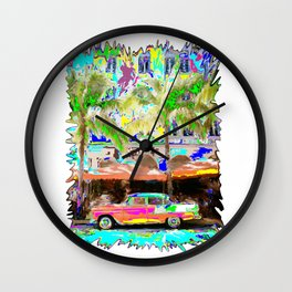 colorful beach car Wall Clock