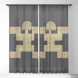 Pectoral Pre-Columbian Gold Piece Sheer Curtain
