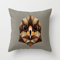 hawk Throw Pillows featuring Hawk by KUI29