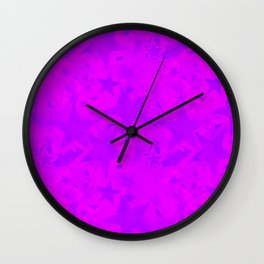 Calm intersecting blurred purple stars on a lilac background. Wall Clock