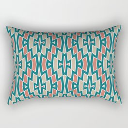 Fragmented Diamond Pattern in Teal, Coral and Tan Rectangular Pillow