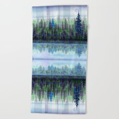 Nature Reflected Plaid Pine Forest Beach Towel