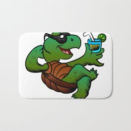 Cartoon Turtle Drinking Cocktail. Bath Mat