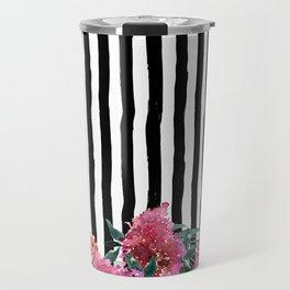 Black white brushstrokes pink watercolor floral stripes Travel Mug