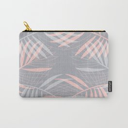 Palm leaves lace pattern on grey Carry-All Pouch