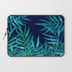 Watercolor Palm Leaves on Navy Laptop Sleeve
