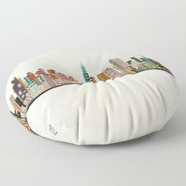 chicago city skyline Floor Pillow