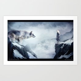 The wolf and the moon Art Print
