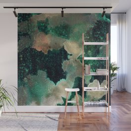Gems : black, green, cream, brown, yellow, gold ink abstract painting Wall Mural