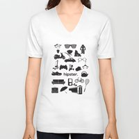 hipster V-neck T-shirts featuring hipster by tycejones