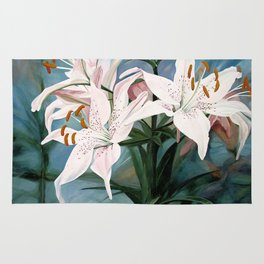 Watercolor Botanical Garden Flower White Lilies Rug