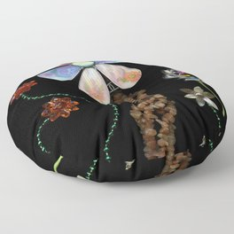 Happy Day in the Garden, Jewelry Scanography Floor Pillow