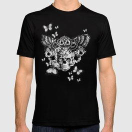 Lost and Found, floral owl with sugar skull T-shirt