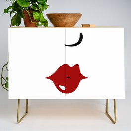 Sexy Betty kissing red lips (vintage lady minimalism style fashion) Credenza