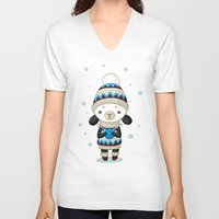 sheep V-neck T-shirts featuring Sheep by Freeminds