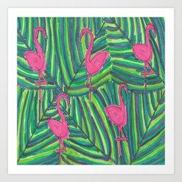 Flamingo Palm Leaves Art Print