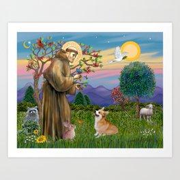 Saint Francis Welsh Corgi (Pembroke) Art Print