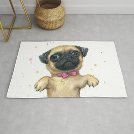 Cute Pug Puppy Dog Watercolor Painting Rug
