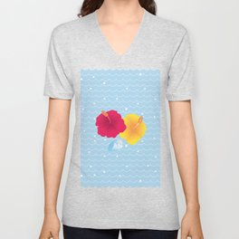 Hibiscus and Thunderhead reflected on the wave_YR Unisex V-Neck